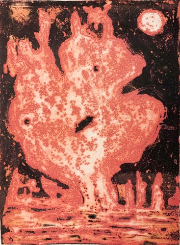 """Patrick Jacobs - """"Meat Face (Night Spirits II),"""" 2020, Unique Viscosity Print, 24 x 18 inches"""