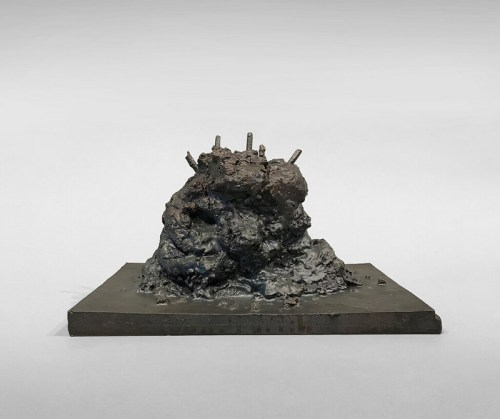 """Patrick Jacobs - """"Melting Head (The Nocturnes),"""" 2019, Bronze, 65.6 (H) x 41.5 (W) x 37 (D) inches"""