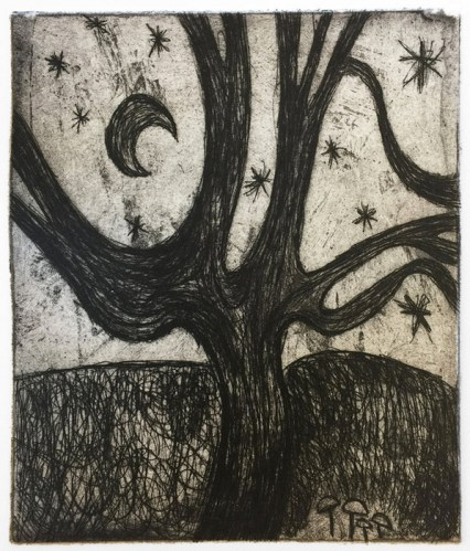 """Patrick Jacobs - """"Tree with Moon (Nocturnes),"""" 2019, Copper Plate Etching with Drypoint, 6.5 x 5.5 inches"""