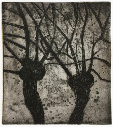 """Patrick Jacobs - """"Two Pollards (Nocturnes),"""" 2019, Copper Plate Etching with Drypoint, 6.5 x 5.5 inches"""
