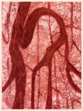 """Patrick Jacobs - """"Forked Branch (Pink Nightfall),"""" 2020, Copperplate Etching and Aquatint with Drypoint, 16 x 12 inches each"""