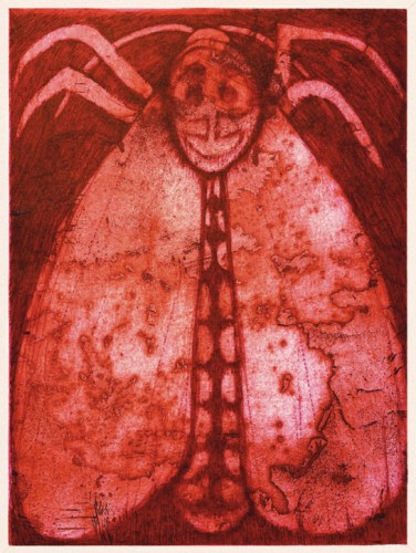 """Patrick Jacobs - """"Mothra (Pink Nightfall),"""" 2020, Copperplate Etching and Aquatint with Drypoint, 16 x 12 inches each"""