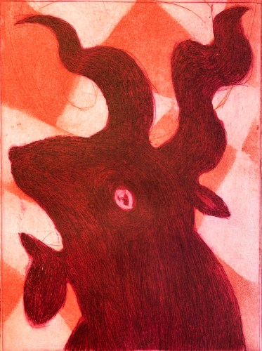 """Patrick Jacobs - """"The Great He-Goat (Pink Nightfall),"""" 2020, Copperplate Etching and Aquatint with Drypoint, 16 x 12 inches each"""