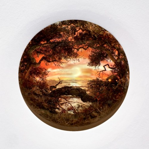 "Patrick Jacobs - ""Red Moonrise Nocturne,"" 2019, Diorama viewed through 4.5"" aperture, Styrene, clay, paper, foam, wood, acrylic, steel, lighting, BK7 glass. Concealed box dimensions: 14.5 (H) x 15.25 (W) x 12 (D) inches (38.7 x 36.8 x 30.5 centimeters). Sold"