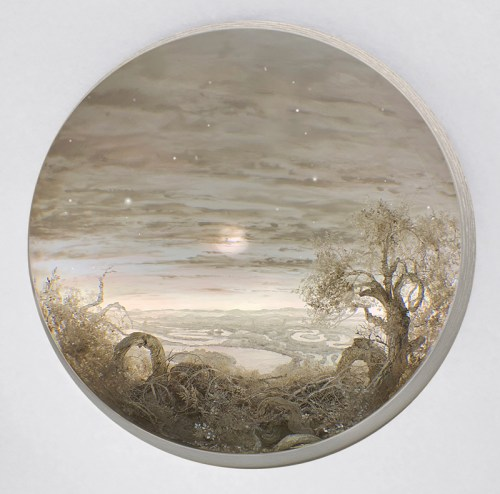 """Patrick Jacobs - """"Silver Moonscape with Stars,"""" 2018, Diorama viewed through 7.5 inch window (19 cm). Styrene, clay, paper, foam, wood, acrylic, steel, lighting, BK7 glass. Box dimensions: 20 (H) x 28 (W) x 20 (D) inches (51 x 71 x 51 cm)"""