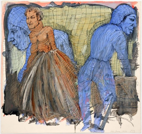 """Kim Jones - """"Untitled,"""" 1982-2003-2013, Acrylic and and ink on paper, 22.5 x 28.5 inches."""