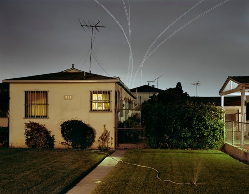 Nachtflüge Series: Rosewood Ave, Landings LAX Runway 24L, 2006 - C-Print, Edition of 7 + 1AP, available in 30 x 38.5 inches or 48 x 61.5 inches