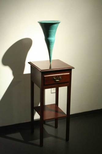 """no title - Clyde Dillon, """"Vortex,"""" (with table), 1970s, Bronze, wood"""