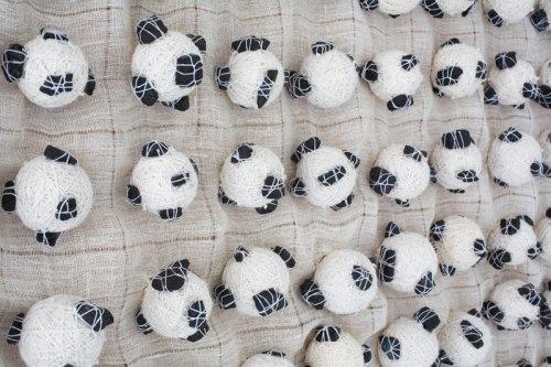 "Sermin Kardestuncer - Detail: ""301 Balls (Diptych),"" 2017, Cotton thread, coal, fabric, 37 X 37 x 1.5 inches each panel (37 x 75.5 x 1.5 inches overall) Photograph by Eric Lubrick"