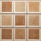 Untitled - 2013, Earth from Sienna on rice paper, thread, Set of 9, Approx. 16.5 x 16.5 inches each