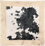 Untitled - 2011, Sooth on fabric, ink on rice paper, silk thread, 16.5 x 16 inches