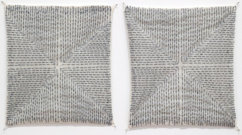 Untitled (Diptych) - 2014, Thread on silk paper and fabric, 8.25 x 7.25 inches