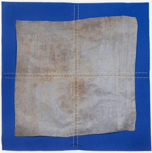 "Sermin Kardestuncer - ""Untitled (Blue),"" 2014, Thread on silk paper, earth, and fabric, 17 x 17 inches"
