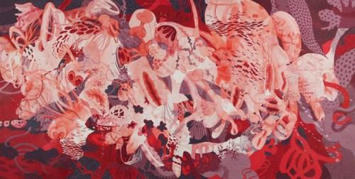 "Darina Karpov - ""Geryon,"" 2014, Watercolor and acrylic on paper, 30 x 55.5 inches"