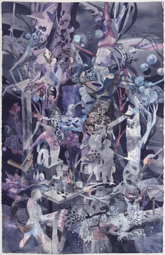 """Darina Karpov - """"Haunt,"""" 2014, Watercolor and gouache on paper, 40 x 25 3/4 inches"""