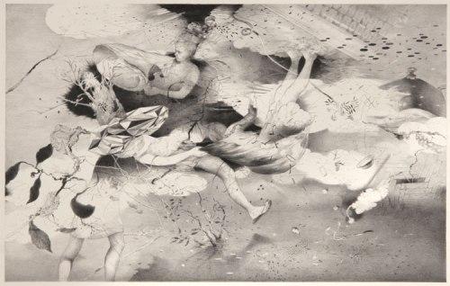 "Darina Karpov - ""Huddle,"" 2013, Graphite on paper, 12 x 18 inches"