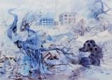 """Darina Karpov - """"Magic Days 2,"""" 2015, Watercolor and gouache on paper, 20 x 27 inches"""