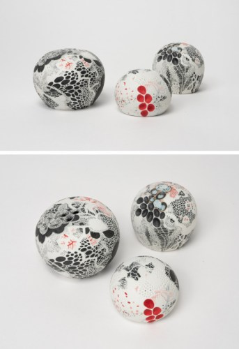 """Darina Karpov - """"Nature Centres Into Balls II,"""" Group of three, 2019, Glaze and underglaze on porcelain, Overall dimensions variable (ranging from 2.5–5 ins diameter each)"""