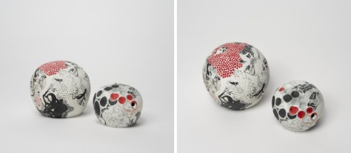 """Darina Karpov - """"Nature Centres Into Balls I,"""" Group of two, 2019, Glaze and underglaze on porcelain, Overall dimensions variable (ranging from 2.5–5 ins diameter each)"""