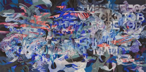 Darina Karpov - Words (Noah Drawing 1), 2013, Watercolor and gouache on paper, 27.5 x 55 inches