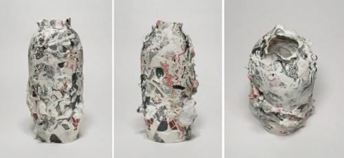 "Darina Karpov - ""Offering,"" (Three views), 2019, Glaze and underglaze on porcelain, 11 (H) x 5 (Diameter) inches"