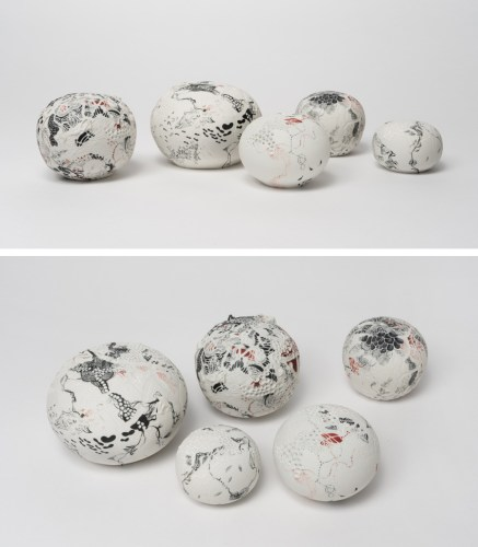 "Darina Karpov - ""Orbs Of Song Into Our Deep Dear Silence,"" Group of five, 2019, Glaze and underglaze on porcelain, Ranging from 2.5–5 inches diameter each"