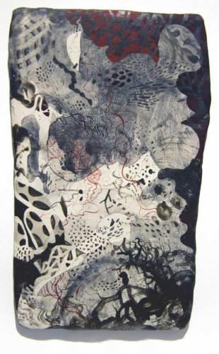 Darina Karpov - Untitled 1, 2018, Mason stain, graphite, tempera, and acrylic on porcelain, 6.75 x 4 inches