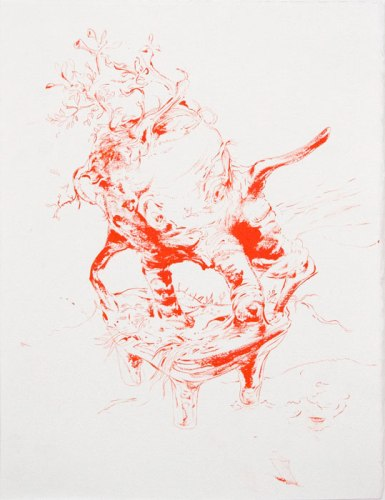 Primary Herbal Loss - 2012, Oil and ink on paper, 15x 11 inches