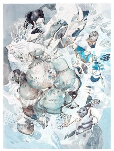 """Darina Karpov - """"Seized 2,"""" 2019, Watercolor and graphite on paper, 24 x 18 inches"""