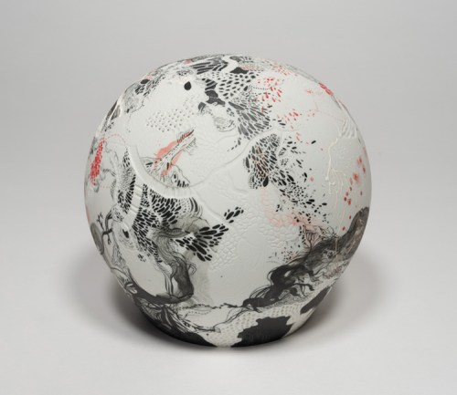 "Darina Karpov - ""The Eye Is The First Circle,"" 2019, Glaze and underglaze on porcelain, 6 x 6 x 6 inches"