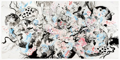 "Darina Karpov - ""Unspooling I,"" 2020, Ink, watercolor and graphite on paper, 26 x 55 inches"