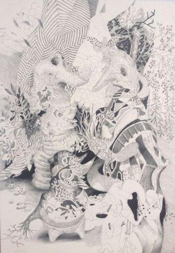"""Darina Karpov - """"Figurines,"""" 2013, Graphite on paper, 7 x 5 inches"""