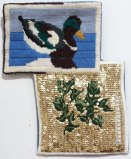 Duck / Marjoram - 2013, Brass sequins on found embroidery projects, 11 x 9 inches