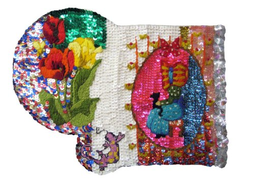 Then and Now (Flowers, Lizard, Holly) - 2013, Sequins on found embroidery projects, fabric, embroidery floss, 9 x 11.75 inches