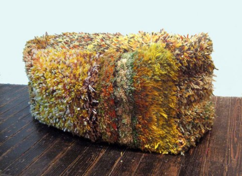 Then and Now (Hay Bale #1) - 2009, Yarn, canvas, muslin, zipper, embroidery floss, stuffing, 18 x 15 x 36 inches