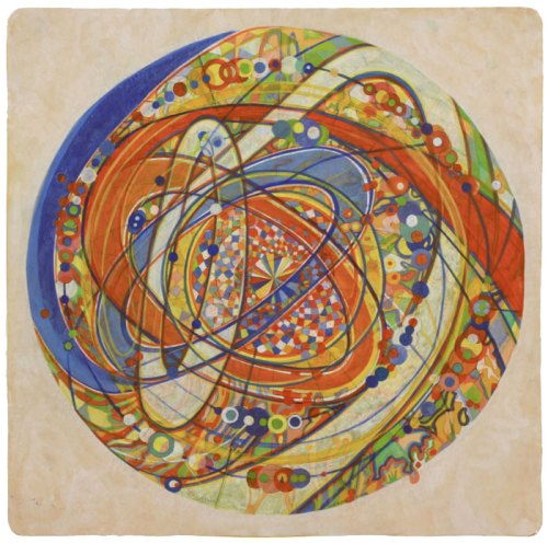 """Ati Maier - """"Free Floating Planets,"""" 2016, Ink and wood stain on paper, 23.75 x 23.75 inches"""