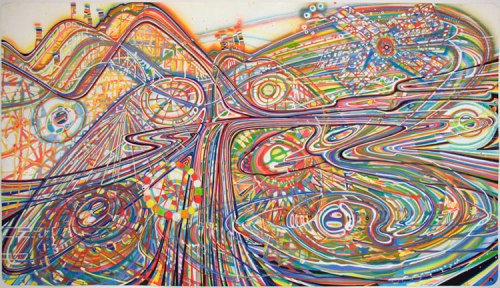 "Ati Maier - ""Giant Dipper,"" 2010, Airbrush, ink on paper, 53 x 94.5 inches. Sold"