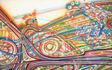 Giant Dipper, Detail - 2010, Airbrush, ink on paper, 53 x 94.5 inches