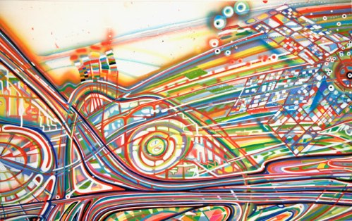 """Ati Maier - """"Giant Dipper"""" (detail), 2010, Airbrush, ink on paper, 53 x 94.5 inches. Sold"""