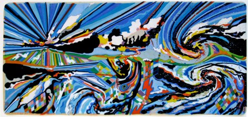 """Ati Maier - """"Icelandic Clouds,"""" 2010, Ink and woodstain on paper, 11 x 24 inches"""