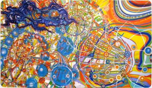 Out of the Blue - 2011, ink and airbrush on paper, 52 x 94 inches