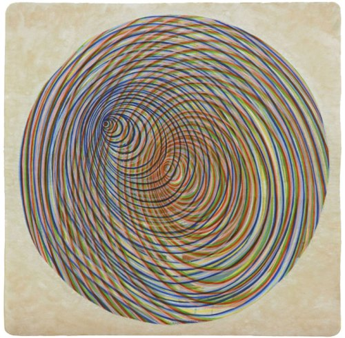 """Ati Maier - """"Planetary Rings,"""" 2016, Ink and wood stain on paper, 23.75 x 23.75 inches"""