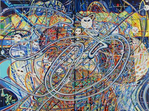 """Ati Maier - """"Twin Peaks,"""" 2008, Acrylic based ink on canvas, 96 x 73 (two panels, 72 x 48 inches each). Sold"""