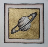 Saturn Study (Gold) - 2009, watercolor, pen and ink, dutch gold leaf on paper, 6.75 x 6.75 inches.