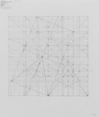 """Mark Reynolds - """"Marriage of Incommensurables Series: The Equilateral Triangle and The Khufu Pyramid Elevation, 7.17,"""" 2017, Graphite on cotton paper, 16.5 x 14 inches"""