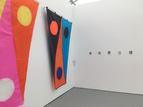 Untitled, Miami Beach - Installation view, 2017. Left: Reed Anderson stitched cloth; Right: Jim Torok portraits