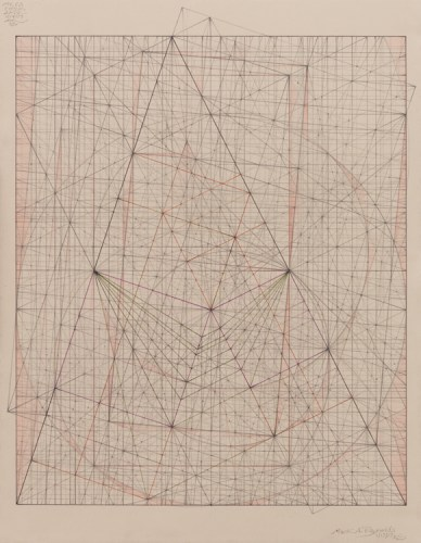 """Mark Reynolds - """"Minor Third Series: Meson Shift 99, 1.17.17,"""" 2017, Graphite, pastel, and colored pencil on cotton paper, 18 x 14.25 inches"""