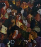 Red Audience - 2012, Acrylic on canvas over panel, 18 x 14 inches.