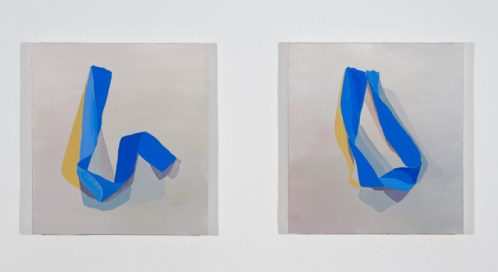 Open, Closed, Open - 2012, Diptych, Acrylic on canvas over panel, 12 x 11 inches each.