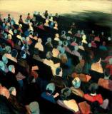 Untitled (Audience) - 2008, Acrylic on paper, 14 x 14 inches